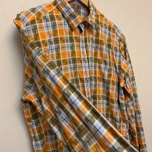Thomas Dean designer dress shirt Sz L multi color